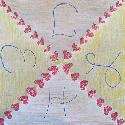 colored drawing of hearts and initials