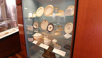 glass display case of dishes