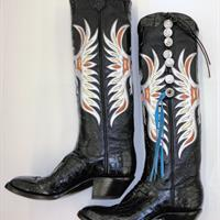 black cowboy boots with white and blue embroidered design